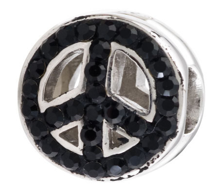 Prerogatives Sterling Black & Clear Crystal Peace Symbol Bead