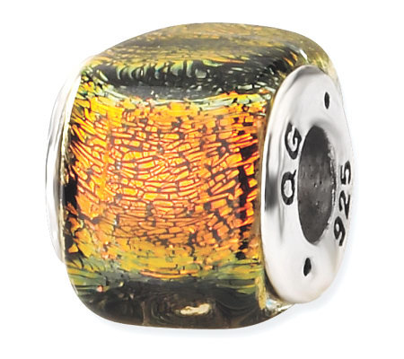 Prerogatives Sterling Orange Dichroic Glass Square Bead