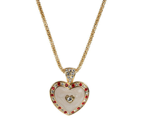 Jacqueline Kennedy Simulated Ruby Heart Pendant with Chain