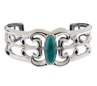 Smithsonian Bold Turquoise Scroll Design Sterling Cuff Bracelet - J262390