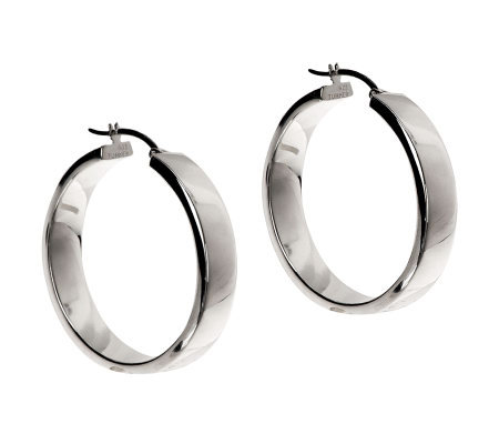 "Sterling 1-1/4"" Polished Hoop Earrings"