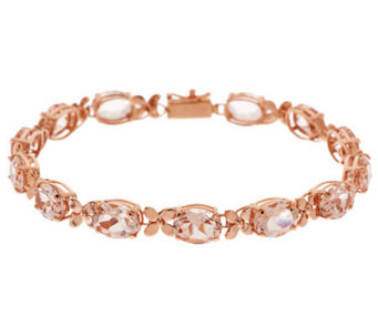 "Premier Oval Morganite & Floral Design 8"" Tennis Bracelet, 14K - J268890"