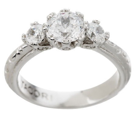 Tacori IV Diamonique Epiphany Bloom Cut 3 Stone Ring
