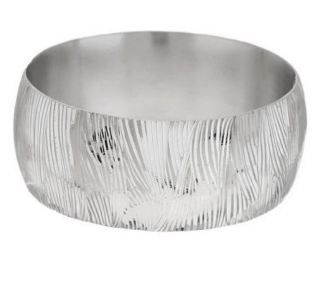 """As Is"" VicenzaSilver Sterling Large Textured Hinged Bangle"