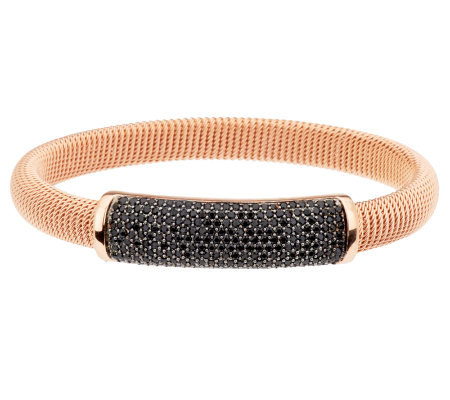 Bronze Average 3.00 cttw Black Spinel Bangle by Bronzo Italia