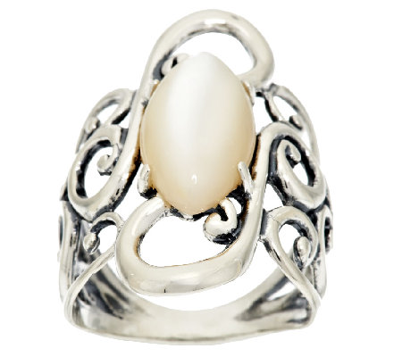 Carolyn Pollack Mother-of-Pearl Scroll Design Sterling Ring