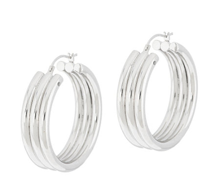 "Triple Row Design 1-1/4"" Hoop Earrings, 14K"