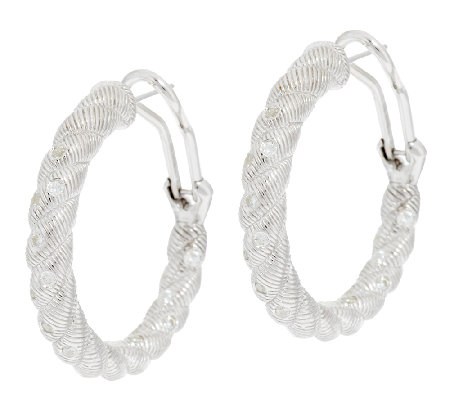 Judith Ripka Sterling Burnished Diamonique Hoop Earrings