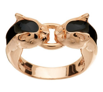 """As Is"" Bronzo Italia Interlocking Panther Head Enamel Ring - J292190"