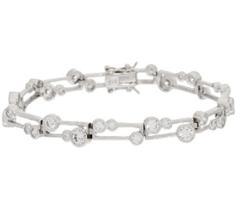 Diamonique Scatter Design Bezel Set Tennis Bracelet Sterling - J294190