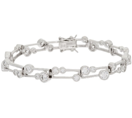 Diamonique Scatter Design Bezel Set Tennis Bracelet Sterling