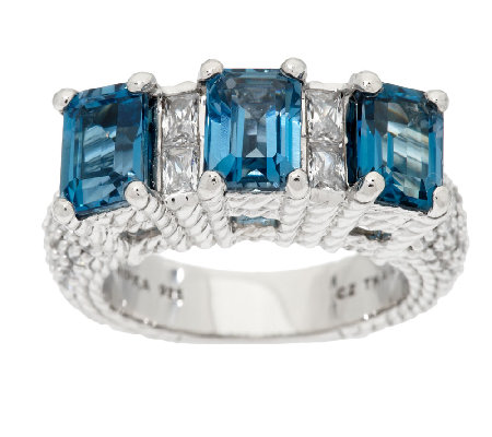 Judith Ripka Sterling 3.70 Cttw London Blue Topaz & Diamonique Ring