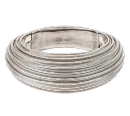 """As Is"" VicenzaSilver Sterling Large Ribbed Satin Bangle"