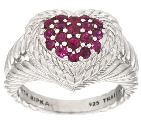 Judith Ripka Sterling 0.60 ct tw Pave' Ruby Heart Ring