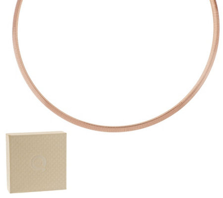 "Bronze 20"" Polished 4mm Omega Necklace by Bronzo Italia"