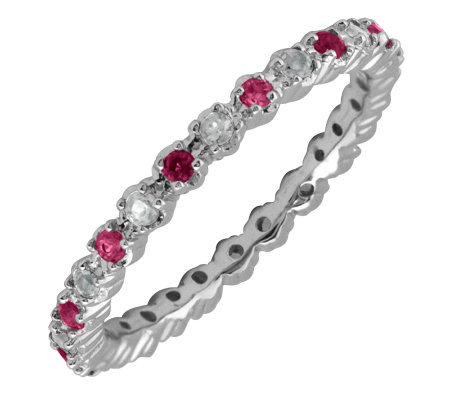 Simply Stacks Sterling Garnet & Diamond Stackable Ring