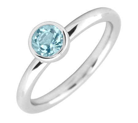 Simply Stacks Sterling 5mm Round Aquamarine Solitaire Ring