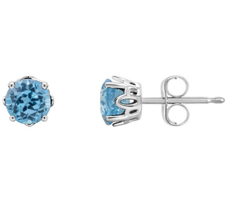 Sterling Round Birthstone Stud Earrings