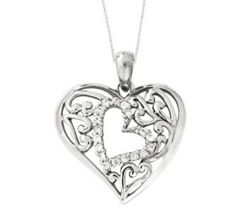 "Sentimental Expressions Sterling 18"" Forever Heart Necklace - J310590"