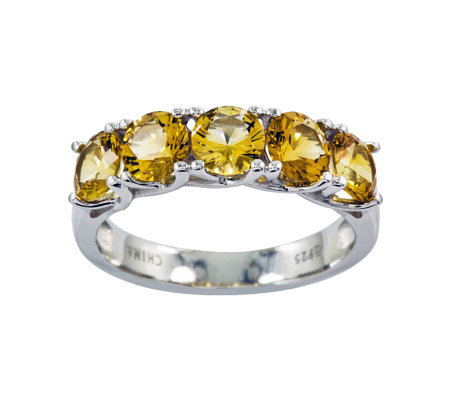 Sterling 2.20 cttw Citrine 5-Stone Ring