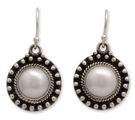 Novica Artisan Crafted Sterling 'Innocence' Pearl Earrings
