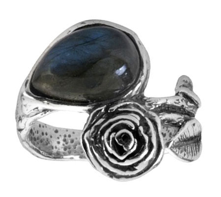 Or Paz Sterling Bypass Rose & Labradorite Ring
