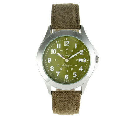 Peugeot Men's Military Dial Green Canvas Watch