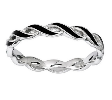 Simply Stacks Sterling Epoxy Enamel Open Twisted Ring