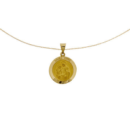 "Polished Saint Anne Pendant w/ 18"" Chain, 14K Gold"