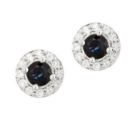 Sterling Round Gemstone & White Topaz Accent Earrings