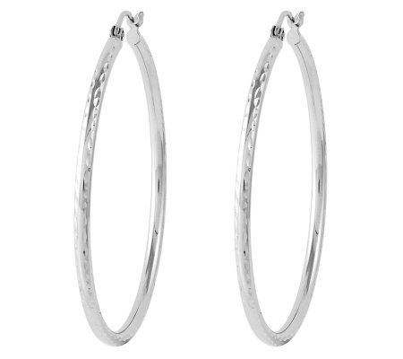 "Sterling 1-1/2"" Polished Diamond-Cut Round HoopEarrings"