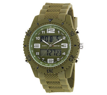Men's USMC Regimen Green Analog-Digital Chronograph Watch - J315390