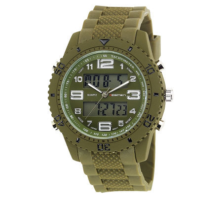 Men's USMC Regimen Green Analog-Digital Chronograph Watch
