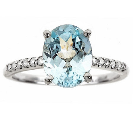 Sterling Silver 1.80 cttw Gemstone & 1/8 cttw Diamond Ring