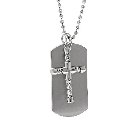 Stainless Steel Dog Tag Pendant w/ Cable & Cross Accent