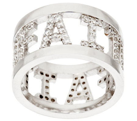 Diamonique Faith, Love, or Hope Pave' Ring, Sterling