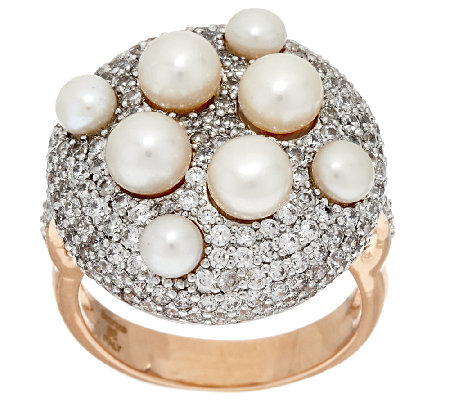 Honora Cultured Pearl Pave' Crystal Bronze Ring