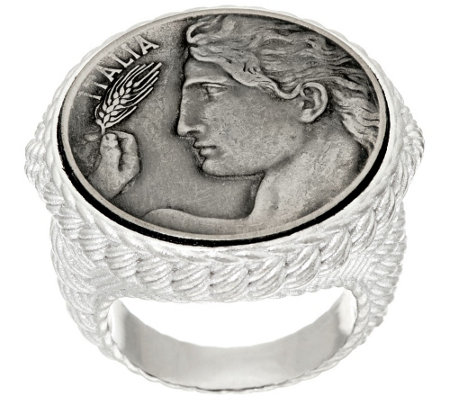 Judith Ripka Sterling Verona Round Textured Coin Ring