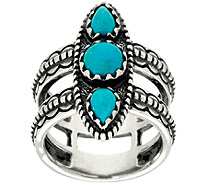 Jennifer Nettles Sterling Silver Double Band Turquoise Ring - J324090
