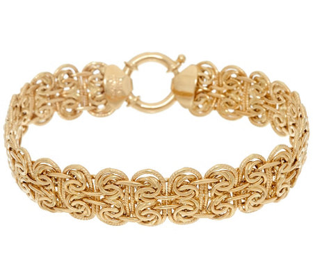 "14K Gold 8"" Fancy Oval Byzantine Bracelet, 9.4g"