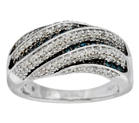 """As Is"" White & Blue Multi-Row Diamond Ring, Sterling by Affinity"