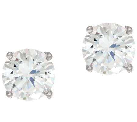 Diamonique 2.00ct tw Round Sterling Silver Stud Earrings w/Gift Box