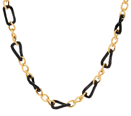 "The ELizabeth Taylor Black and Gold Link 36"" Necklace"