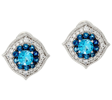 Judith Ripka Sterling 1.70 cttw Blue Topaz Button Earrings