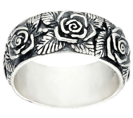 Sterling Silver Gathered Rose Band Ring by Or Paz