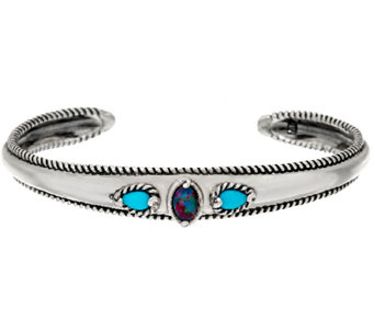 Carolyn Pollack Sleeping Beauty Turquoise Opal Triplet Sterling Cuff - J328190