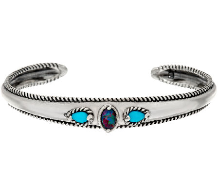 Carolyn Pollack Sleeping Beauty Turquoise Opal Triplet Sterling Cuff