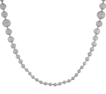 """As Is"" Veronese 18K White Gold 36"" Graduated Satin Bead Necklace - J329990"