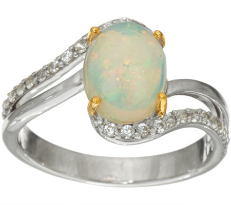 Ethiopian Opal & White Zircon Sterling Silver Ring