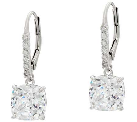 Diamonique 100-Facet Leverback Earrings, Platinum Clad